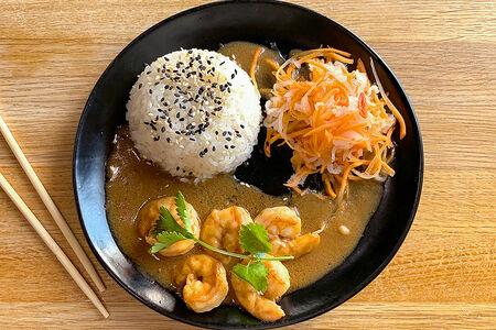 Креветки с рисом в сычуаньском соусе