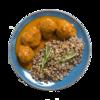 Фото к позиции меню Тефтели мясные с гречкой под овощным соусом