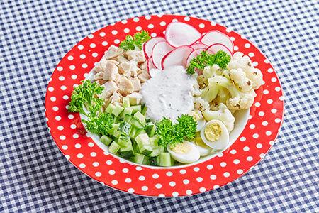 Салат с куриной грудкой, перепелинными яйцами, овощами и йогуртовым соусом