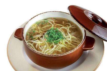 Суп-лапша из копченого гуся