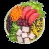 Фото к позиции меню Салат-боул с индейкой на пару, грейпфрутом и клюквой