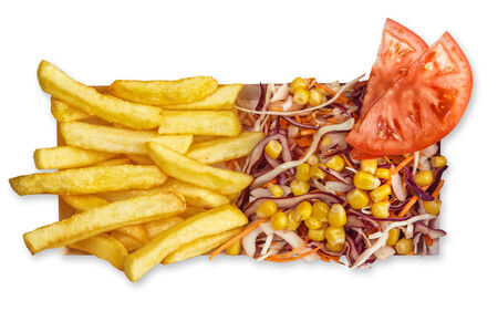 Бокстер Грин с картофелем фри и салатом Коул Слоу