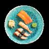Фото к позиции меню Суси-сет с лососем, угрем и тигровой креветкой