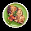 Фото к позиции меню Баклажан запечённый с адыгейским сыром и томатом