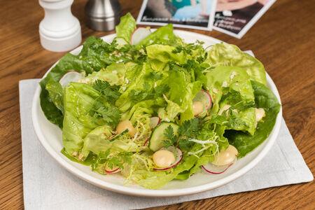 Листья салата с горчичным  дрессингом и тахини