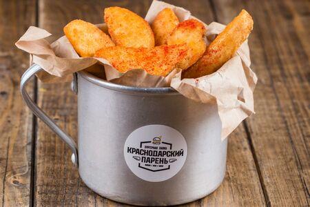 Картофель фри по деревенски чесночный