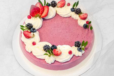 Торт-мороженое малина-ваниль