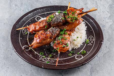 Курица терияки с рисом на пару