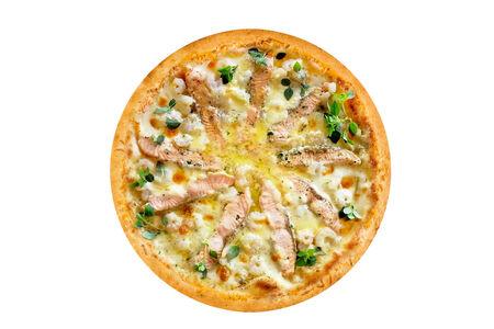 Пицца с семгой и креветками