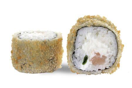 Горячий ролл с лососем и сыром