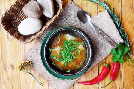 Узбекский суп с пельменями из баранины