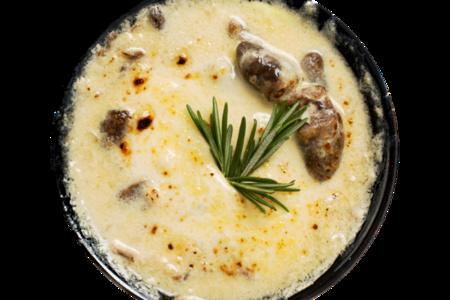 Сердечки куриные с грибами в сливочном соусе