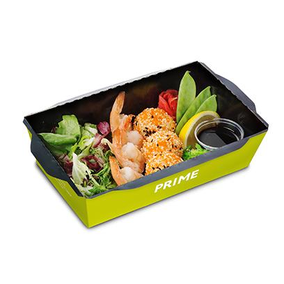 Energy salad с креветками и рисовыми шариками