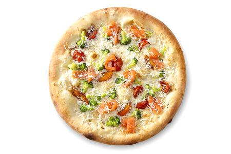 Пицца с лососем и сливочным соусом