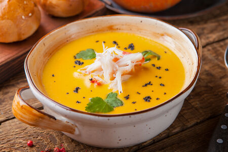 Крем-суп тыквенный с крабом