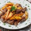 Фото к позиции меню Говяжья вырезка жареная с картофелем