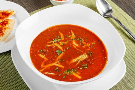Суп Пряный мексиканский с тортильей и сальсой
