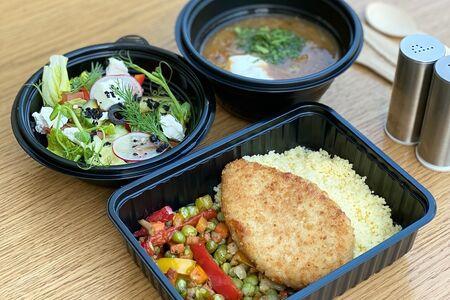 Ланч # 9: салат греческий и щи и котлета куриная с кус-косом и овощами