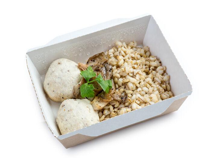 Перловка с устричным грибом и мини-люля из индейки
