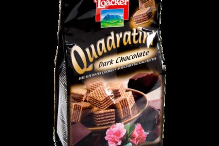 Вафли Квадратини темный шоколад, Loacker