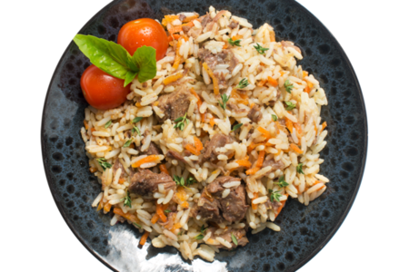 Говядина отварная с рисом и овощами