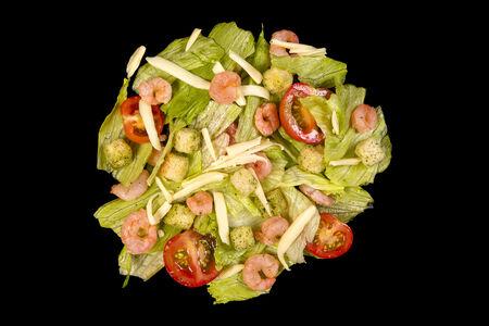 Теплый салат Цезарь с креветками