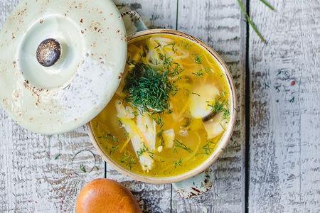 Суп-лапша к куриной грудкой и грибами