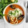 Фото к позиции меню Суп Томатный с морепродуктами