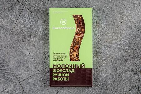 Шоколад молочный с орехом пекан, ирисом и конфитюром из маракуйи
