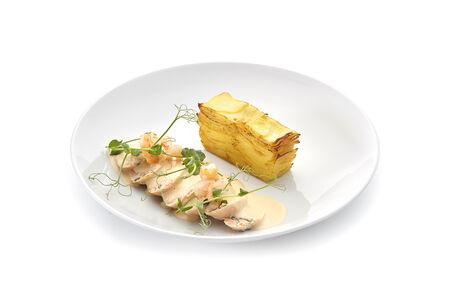 Рулет из лосося с картофельным гратеном