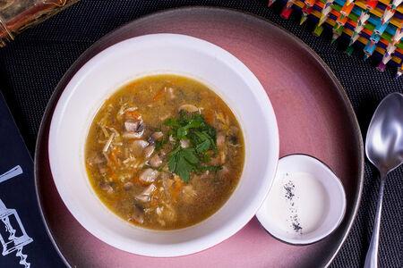 Грибной суп с лапшой и сметаной