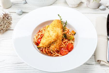 Спагетти с камбалой