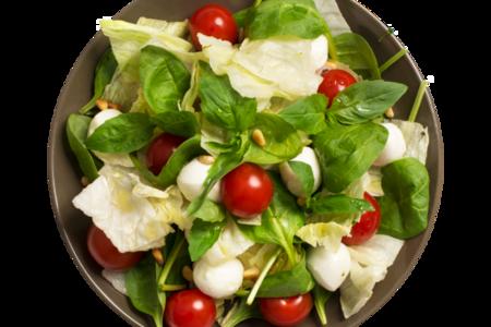 Салат-боул с моцареллой, зеленым базиликом и кедровыми орешками