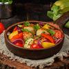Фото к позиции меню Котлеты из индейки с овощами на углях