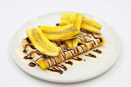 Бельгийские вафли с карамелизированным бананом