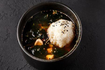 Клеро-суп с лососем, креветками и рисом