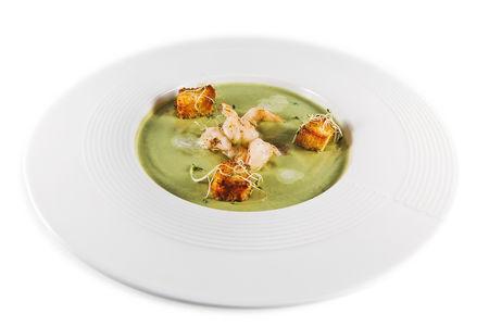 Крем-суп из брокколи с креветкой