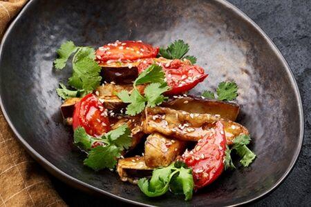 Хрустящие баклажаны с томатами постные