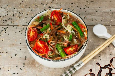 Рис с говядиной в сливочном соусе