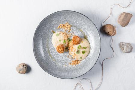 Морской гребешок с яблочно-сельдереевым муссом