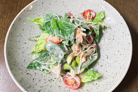 Большой зеленый салат с крабом и соусом гома