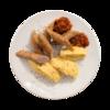 Фото к позиции меню Колбаски из индейки с картофельным пюре и аджикой