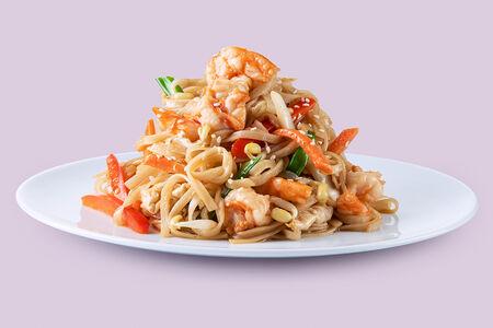 Тайская лапша с креветками
