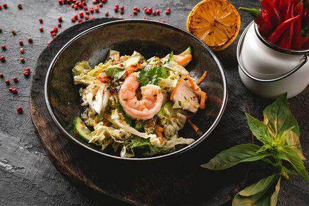 Cалат Коул-слоу с куриным филе и креветкой
