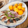 Фото к позиции меню Маринованная скумбрия с картофелем