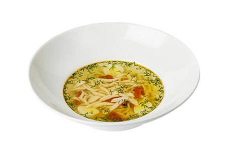 Суп-лапша с цыпленком и перепелиным яйцом