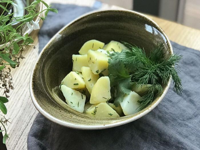 Картофель на пару с зеленью