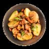 Фото к позиции меню Картофель с лисичками, тимьяном и розмарином