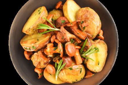 Картофель с лисичками, тимьяном и розмарином