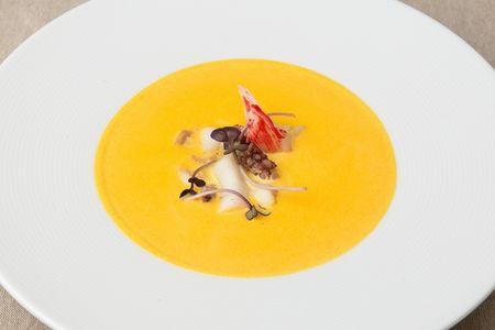 Крем-суп из тыквы с морепродуктами